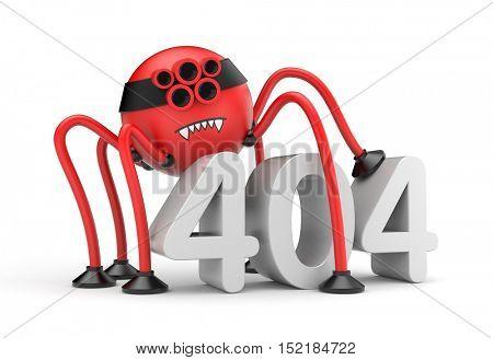 Red robot spider and word 404 error. Internet metaphor. 3d illustration