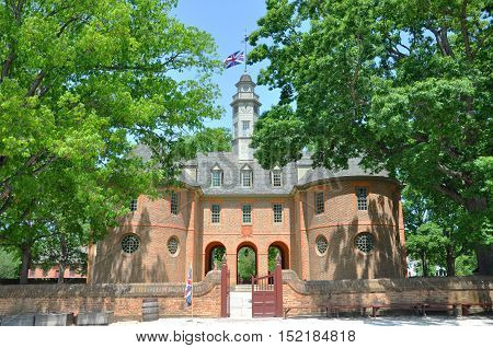 WILLIAMSBURG, VA, USA - MAY 7: Capitol of British Colony on May 7th, 2012 in Williamsburg, Virginia, USA. The capitol is a reconstruction of the original 1705 building.