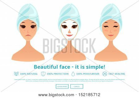Cartoon girl care her face and applying natural mask. Attractive woman with different expressions of faces isolated on white background. Vector illustration. Healthy lifestyle concept.