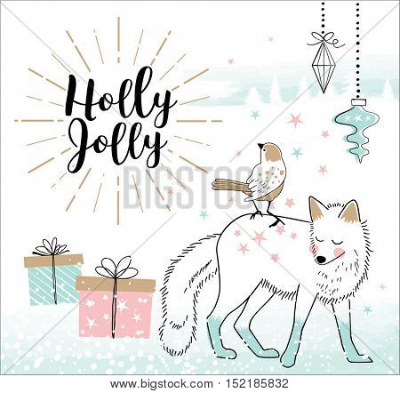 Hand drawn Christmas card with cute little bird and fox