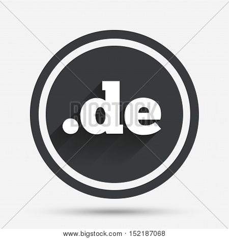 Domain DE sign icon. Top-level internet domain symbol. Circle flat button with shadow and border. Vector