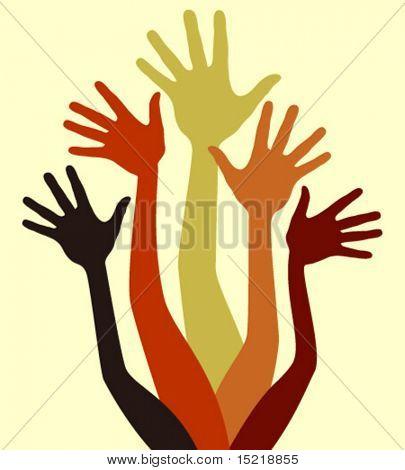 Gruppe von freudigen Hände Vektor.
