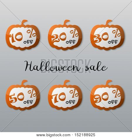 Halloween sale tags set. Halloween pumpkin icons