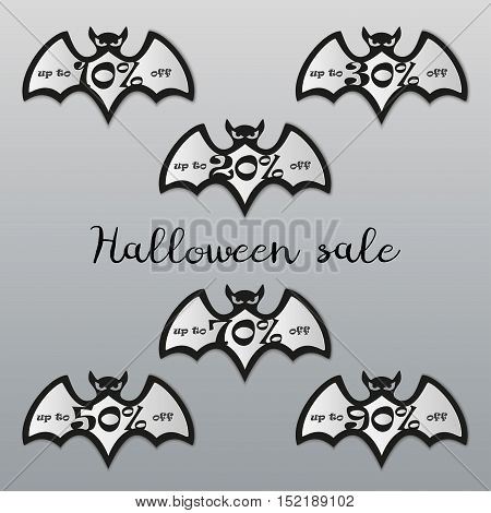 Halloween sale tags set. Halloween bat icons