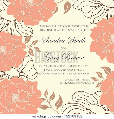 Wedding invitation and save the date card. Also can be used as greeting card birthday card or party invitations