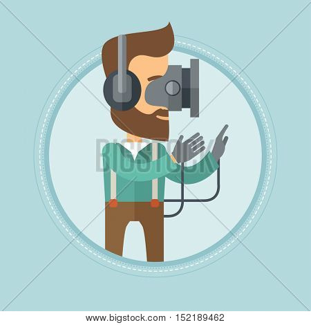 Caucasian hipster man with the beard wearing a virtual reality headset. Gamer playing video games. Man wearing gamer gloves. Vector flat design illustration in the circle isolated on background.