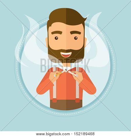Caucasian young hipster man breaking the cigarette. Man crushing cigarette. Man holding broken cigarette. Quit smoking concept. Vector flat design illustration in the circle isolated on background.