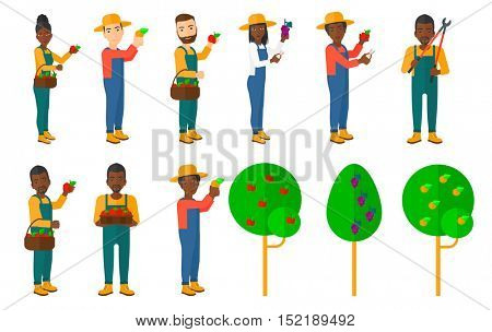 Set of farmers collecting harvest. Farmers using agricultural tools. Farmer with pruner, watering can. Garden trees. Beekeeper working at apiary. Vector illustration isolated on white background.