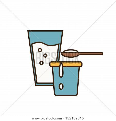 Dairy icon design with glass of milk and yoghurt in container isolated vector illustration. Traditional and tasty products. Organic farming.Organic farmers food. Organic food and dairy product concept. Milk product icon. Cartoon dairy product. Dairy icon.