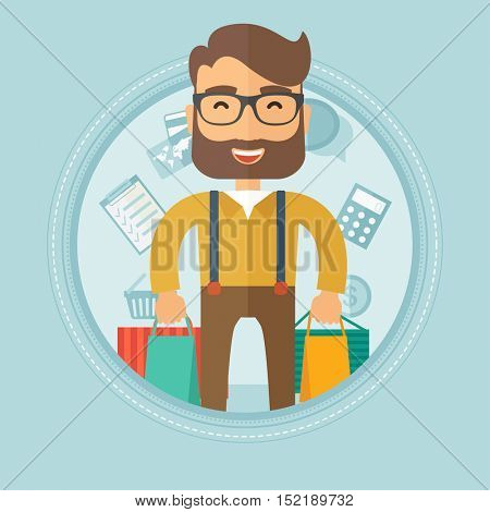 Excited young caucasian hipster shopper with the beard holding a lot of shopping bags on the background with shopping icons. Vector flat design illustration in the circle isolated on background.