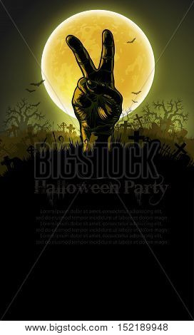 Halloween background with a silhouette of a hand against the backdrop of a large moon