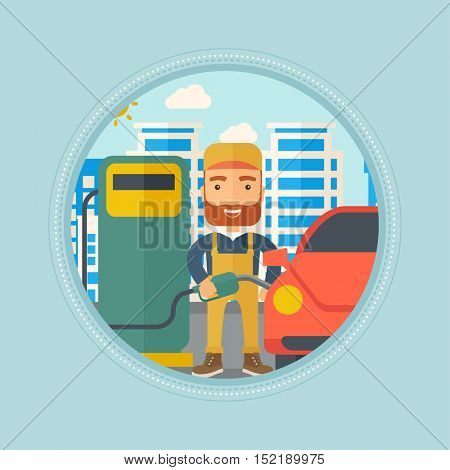 Hipster worker with beard filling up fuel into the car. Worker in workwear at the gas station. Gas station worker refueling a car. Vector flat design illustration in the circle isolated on background.