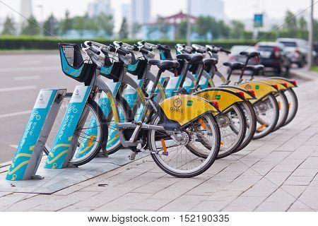 Astana, Kazakhstan - July 28, 2016: Urban bicycle rental.