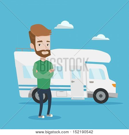 Confident hipster man with the beard standing in front of motor home. Young caucasian man with arms crossed enjoying his vacation in camper van. Vector flat design illustration. Square layout.