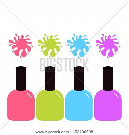 Pink blue violet green nail polish varnish icon. Colorful blot splash set. Inkblot. White background Isolated Fashion Template Flat design. Vector illustration