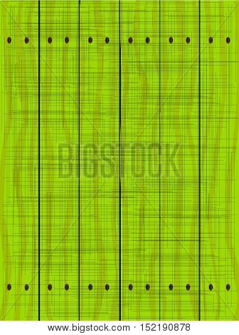 A green fence made of wooden planks showing the wood grain and grunge effect..