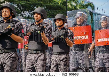 Kota Kinabalu,Sabah-Aug 31,2016:The Immigration Department of Malaysia on National day,celebrating the 59th anniversary of independence on 31st Aug 2016 at Kota Kinabalu,Sabah,Borneo.