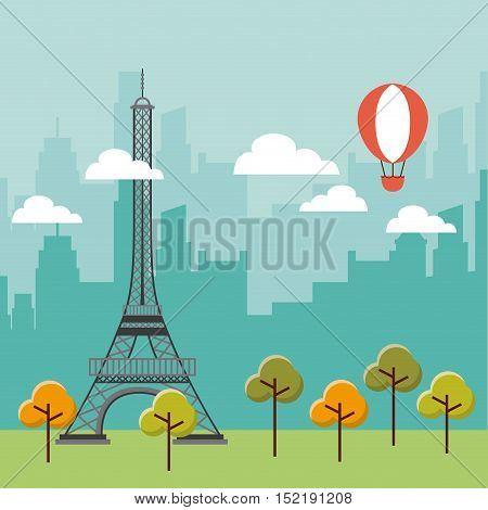 tower eiffel french culture vector illustration design