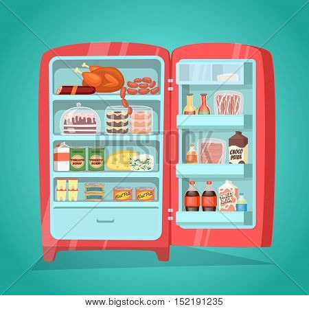 Retro refrigerator full of food. Vintage fridge filled with daily products vector illustration. Weekly nutrients supply. Space organization in fridge. Refrigerator or fridge with food. Cartoon vector fridge or refrigerator isolated. Open fridge
