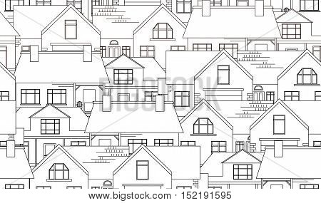 Seamless texture with contour country houses. Vector background for your creativit