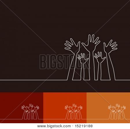 Simple line illustration of hands vector.