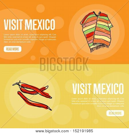 Visit Mexico banners. Bright poncho, red chilli peppers hand drawn vector illustrations on national colors backgrounds. Mexico vector banners template. Travel to Mexico concept. Discover Mexico. Flyer of Mexico for travel agency or travel ad.