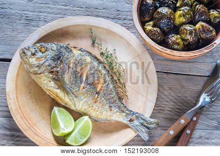 Grilled Dorade Royale Fish With Brussel Sprouts