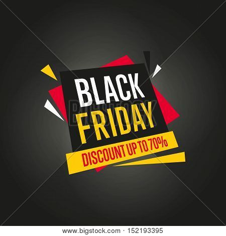 Black Friday sale black sticker vector isolated. Discount or special offer price sign on Black Friday.