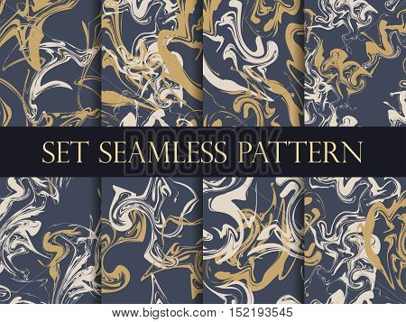 Marbling Seamless Pattern Set. Watercolor Marbling Illustration. Drawing On The Water. Vector Illust