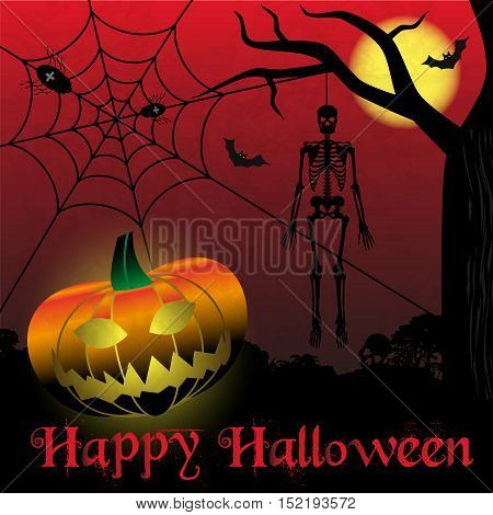 Happy Halloween Carved Pumpkins And Scary Skeleton Background Eps10