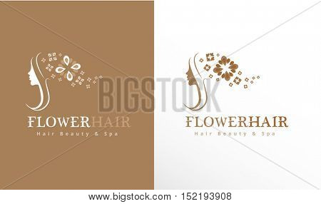 WOMAN'S FACE SILHOUETTE WITH FLOWER HAIR , ICON / LOGO