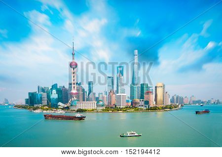 Shanghai skyline Panoramic view of shanghai skyline and huangpu river Shanghai China