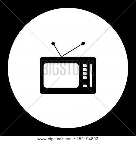 Black Isolated Old Retro Television Symbol Simple Icon Eps10