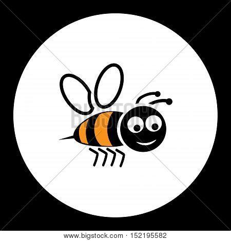 Simple Black Smiling Happy Bee Icon Eps10