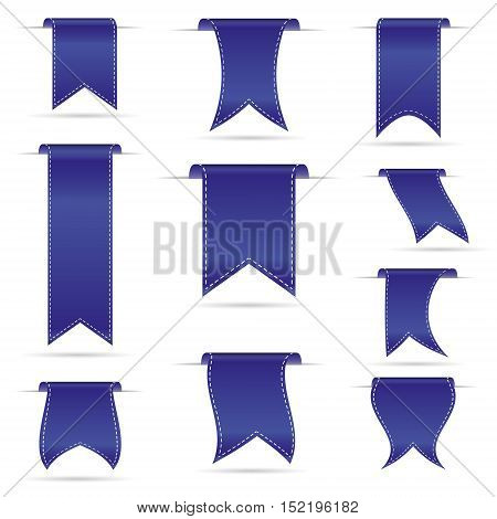 Blue Hanging Curved Ribbon Banners Set Eps10