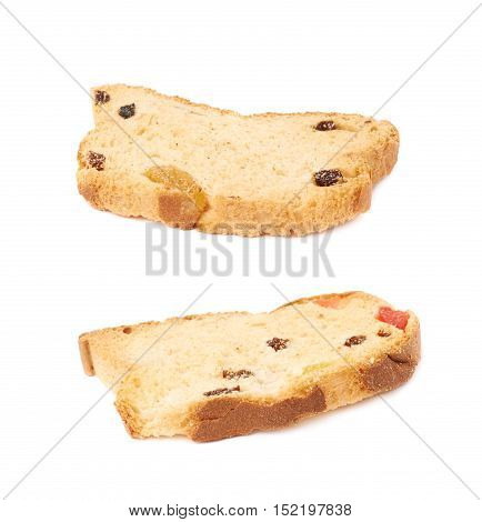 Set rusks with the pieces of dried fruits isolated over the white background