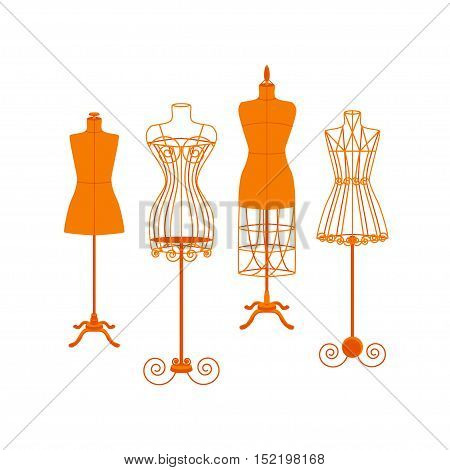 Vintage Mannequin or Dummies Color Set For Sewing Women Fashion Clothes Flat Design Style . Vector illustration