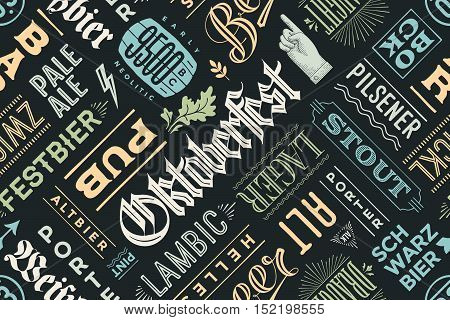 Seamless pattern with types of beer and hand drawn lettering for Oktoberfest Beer Festival. Vintage drawing for placemat, bar menu, t-shirt print and beer themes. Vector Illustration