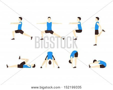 Stretching Exercise Set with Man Flat Design Style. Sports and Fitness for Health. Vector illustration