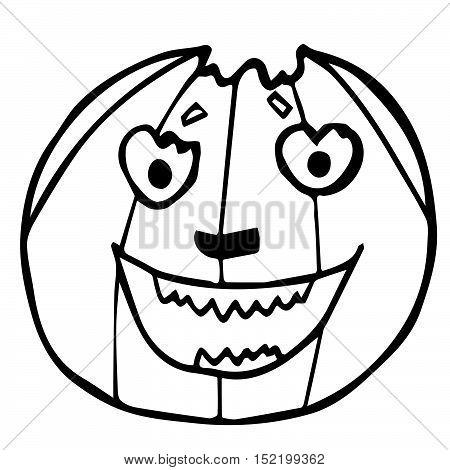 Halloween pumpkin with a toothy smile isolated on white background. Beautiful funny doodle for Halloween holidays design, prints, cards, invitations, flyers and stickers, wrapping paper.