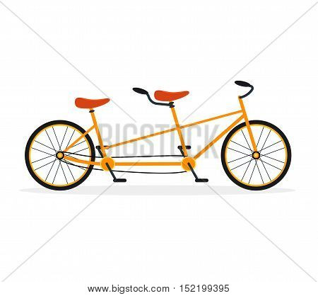 Tandem Bike Flat Design Style. Urban Travel or Sport for Two. Active Leisure. Vector illustration