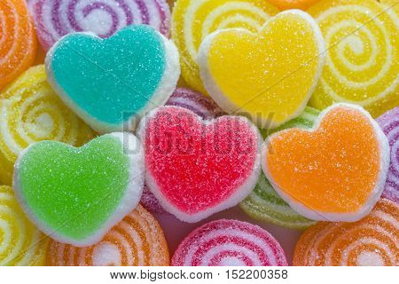 all yummy colourful jelly candies heart ahape