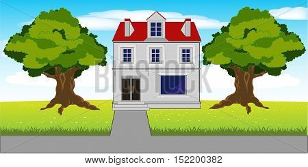 The Big house on glade and road.Vector illustration