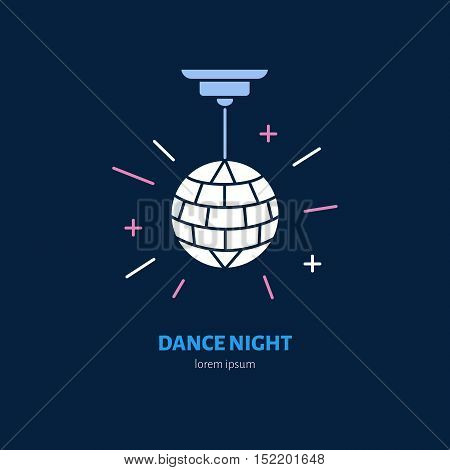 Disco ball symbol retro dance party. Modern vector thin line icon of dancing night. Linear disco ball pictogram for music event dance club. Disco ball pictogram for music banner web site.