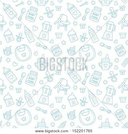 Seamless pattern baby food pastel color vector illustration. Infant feeding thin line icons. Cute repeated blue texture baby item for packaging baby shower card fabric. Birthday invitation design
