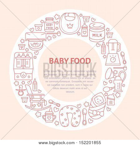 Breastfeeding poster template. Vector line illustration of breast feeding baby infant food. Nursery element: breast pump woman child powdered milk bottle sterilizer baby. Maternity banner design poster
