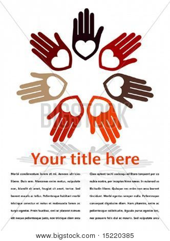 United hands and hearts with copy space vector.