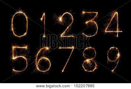 digit set made of a firework sparklers