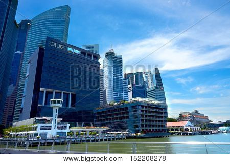 singapore, singapore - october 16, 2016: Singapore skyline and view of the financial district, Singapore