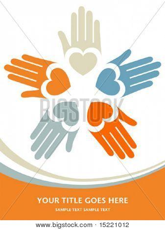 Círculo de mãos coloridas com vetor de espaço de cópia.